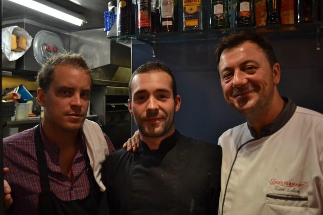 Ce midi là Arthur Potonniée, le directeur, Jérôme Moinard, le chef et Rémi Lebon, chef executif / Copyright Julien Tissot
