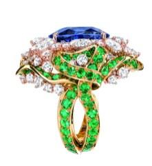 BAGUE GALON SAPHIR 750/1000e or jaune et rose, diamants, saphir et émeraudes