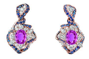 BOUCLES D'OREILLES GALON SAPHIR ROSE 750/1000e or rose, diamants, saphirs roses et saphirs