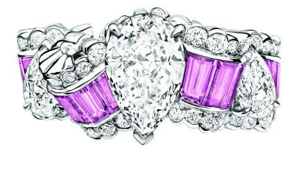 BAGUE GROS GRAIN SAPHIR ROSE JCAD93007 750/1000e or blanc, diamants et saphirs roses