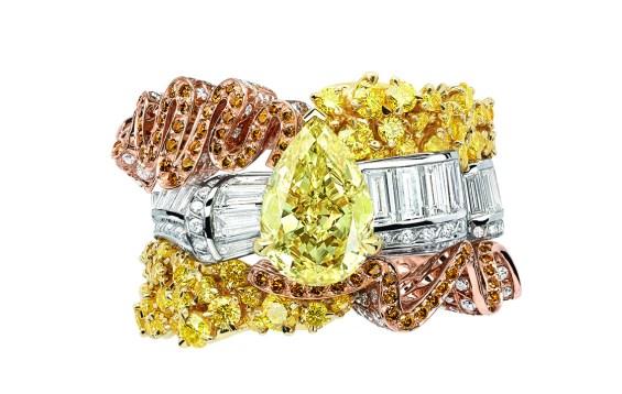 BAGUE SMOCK DIAMANT JAUNE JCAD93012 750/1000e or blanc, rose et jaune, diamants, diamants jaunes et orange