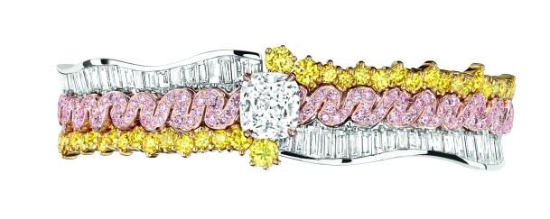 BRACELET TRESSE DIAMANT JCAD93049 950/1000e platine, 750/1000e or rose et jaune, diamants, diamants jaunes et roses
