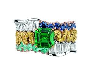 BAGUE TRESSE ÉMERAUDE JCAD93051 750/1000e or jaune et rose, 950/1000e platine, diamants, diamants jaunes, émeraude, saphirs et tourmalines type Paraïba
