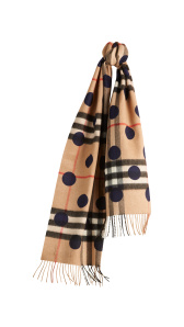 The Classic Cashmere Scarf in Check and Dots - Indigo Blue