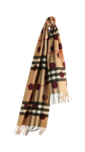 The Classic Cashmere Scarf in Check and Dots - Plum