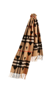 The Classic Cashmere Scarf in Check and Hearts - Black