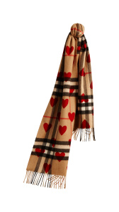 The Classic Cashmere Scarf in Check and Hearts - Parade Red