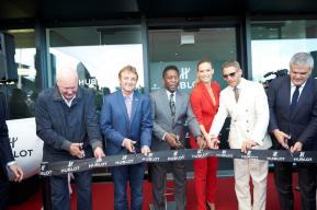 Ribbon cutting ceremony with Jean-Claude Biver, Daniel Rossellat, Pelé, Bar Refaeli, Lapo Elkan n and Ricardo Guadalupe