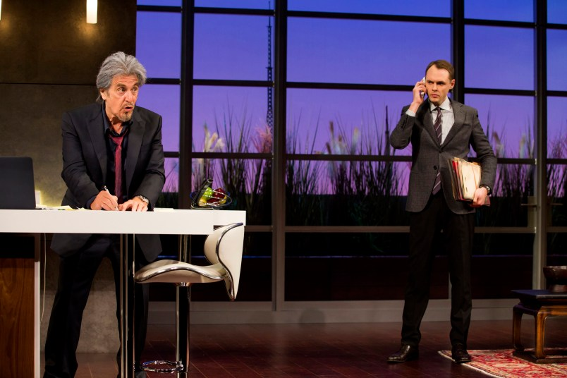 """Al Pacino and Christopher Denham in a scene from """"China Doll"""" on Broadway at the Schoenfeld Theatre. www.ChinaDollBroadway.com. Photo by Jeremy Daniel."""