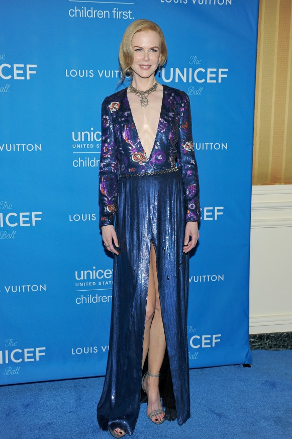 BEVERLY HILLS, CA - JANUARY 12: Actress Nicole Kidman, wearing Louis Vuitton, attends the Sixth Biennial UNICEF Ball Honoring David Beckham and C. L. Max Nikias presented by Louis Vuitton at Regent Beverly Wilshire Hotel on January 12, 2016 in Beverly Hills, California. (Photo by Donato Sardella/Getty Images for U.S. Fund for UNICEF)