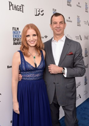 SANTA MONICA, CA - FEBRUARY 27: Actress Jessica Chastain (L) and Piaget CEO Philippe Leopold-Metzger attend the 2016 Film Independent Spirit Awards sponsored by Piaget on February 27, 2016 in Santa Monica, California. (Photo by Stefanie Keenan/Getty Images for Piaget) *** Local Caption *** Jessica Chastain;Philippe Leopold-Metzger