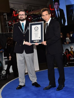 "LONDON, ENGLAND - FEBRUARY 04: Ben Stiller (R) with the certificate for the record breaking selfie attempt during a London Fan Screening of the Paramount Pictures film ""Zoolander No. 2"" at the Empire Leicester Square on February 4, 2016 in London, England. (Photo by Gareth Cattermole/Getty Images for Paramount Pictures) *** Local Caption *** Ben Stiller"