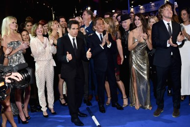 "LONDON, ENGLAND - FEBRUARY 04: Ben Stiller (C) with cast and guests celebrate after record breaking selfie attempt during a London Fan Screening of the Paramount Pictures film ""Zoolander No. 2"" at the Empire Leicester Square on February 4, 2016 in London, England. (Photo by Gareth Cattermole/Getty Images for Paramount Pictures) *** Local Caption *** Ben Stiller;Valentino;Christine Taylor;Penelope Cruz;Owen Wilson"