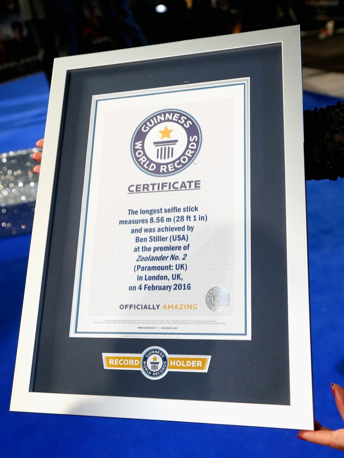 """LONDON, ENGLAND - FEBRUARY 04: The certificate for the record breaking selfie attempt during a London Fan Screening of the Paramount Pictures film """"Zoolander No. 2"""" at the Empire Leicester Square on February 4, 2016 in London, England. (Photo by Getty Images/Getty Images for Paramount Pictures)"""