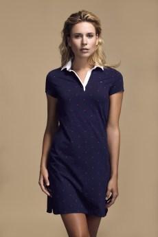 COM 2015 : Look Book Femme Printemps-Ete 2016 - Look 1 Robe marine en coton. Eden Park Spring-Summer 2016 Womens look book - Look 1 - Navy blue cotton dress.