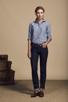 COM 2015 : Look Book Femme Printemps-Ete 2016 - Look 3 + couverture chemise jean en coton et jean brut. Eden Park Spring-Summer 2016 Womens look book - Cover and look 3 - denim cotton shirt with raw jeans.
