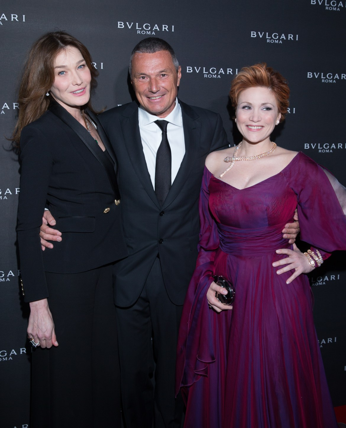 Carla BRUNI-SARKOZY. Jean-Christophe BABIN. Carmen GIANNATTASIO. Bulgari Opening New Bond Street. London. UK. 14/3/2016 © david atlan