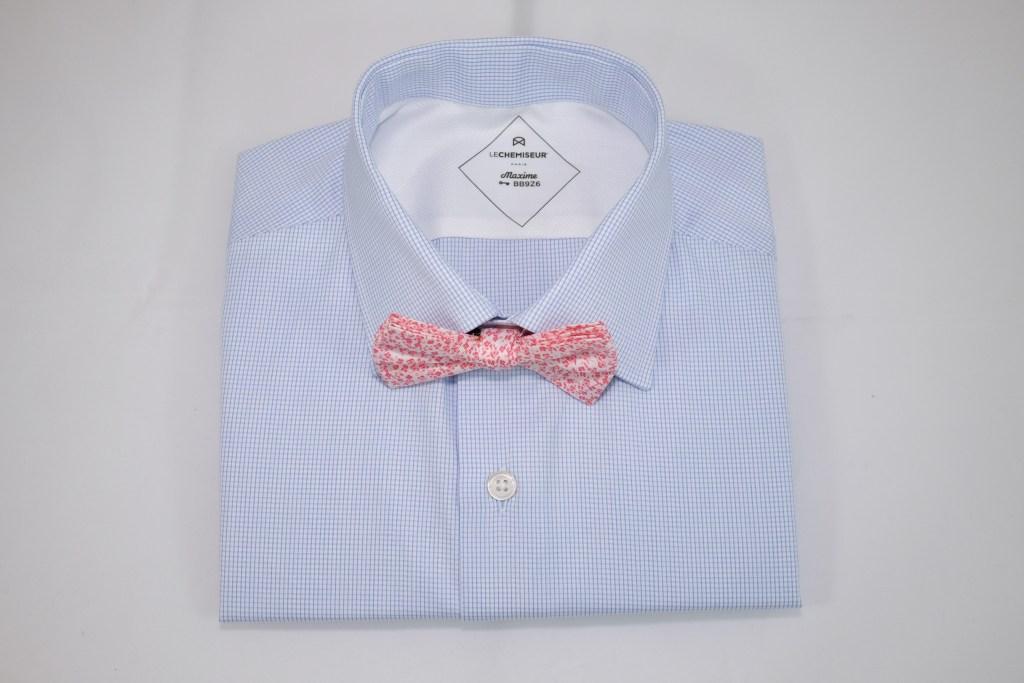 Chemise bleu Noeux Papillon rose