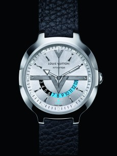 Louis Vuitton - GMT Steel Leather Silver dial with background