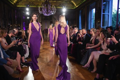 PARIS, FRANCE - JULY 05: Models walk the runway during the Bulgari Celebration of Magnificent Inspirations, The New High Jewellery Collection during Paris Haute Couture at the Italian Embassy on July 5, 2016 in Paris, France. (Photo by Venturelli/Getty Images for Bvlgari)