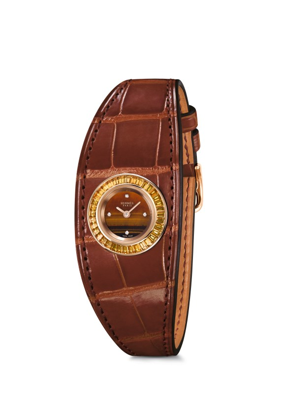 Hermes_Higlights Baselworld 2016_Faubourg Manchette Joaillerie_Pictures_Products_Faubourg Manchette Joaillerie_tigr's eye dial_etruscan alligator®Calitho