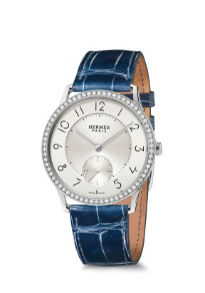 Hermes_Other new products Baselworld 2016_Slim d'Hermes_Pictures_Products_Press_Slim d'Hermes 39 manufacture-acier diamants-steel with diamonds_sapphire blue®Calitho