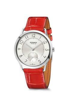 Hermes_Other new products Baselworld 2016_Slim d'Hermes_Pictures_Products_Press_Slim d'Hermes 39 manufacture_acier-steel_geranium®Calitho