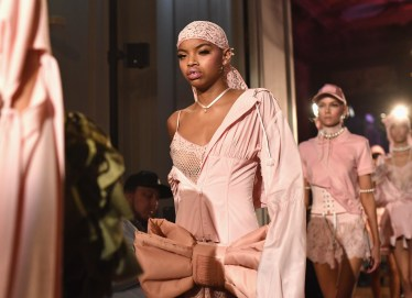 PARIS, FRANCE - SEPTEMBER 28: A model walks the runway during FENTY x PUMA by Rihanna at Hotel Salomon de Rothschild on September 28, 2016 in Paris, France. (Photo by Jacopo Raule/Getty Images for Fenty x Puma)