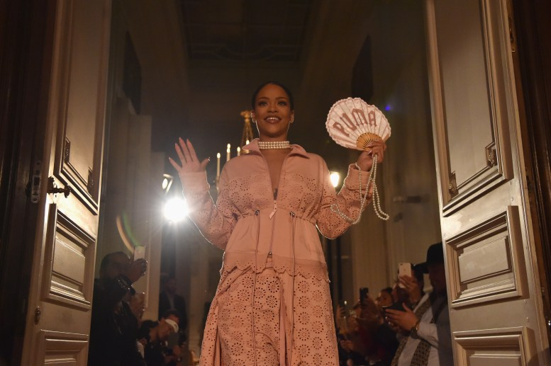 PARIS, FRANCE - SEPTEMBER 28: Rihanna walks the runway during FENTY x PUMA by Rihanna at Hotel Salomon de Rothschild on September 28, 2016 in Paris, France. (Photo by Pascal Le Segretain/Getty Images for Fenty x Puma)