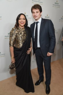 HOLLYWOOD, CA - NOVEMBER 15: Filmmaker Mira Nair (L) and Communications and Image Director of Rolex Arnuad Boetsch attend the 2016 Rolex Awards For Enterprise at the Dolby Theatre on November 15, 2016 in Hollywood, California. (Photo by Michael Kovac/Getty Images for Rolex Awards for Enterprise )