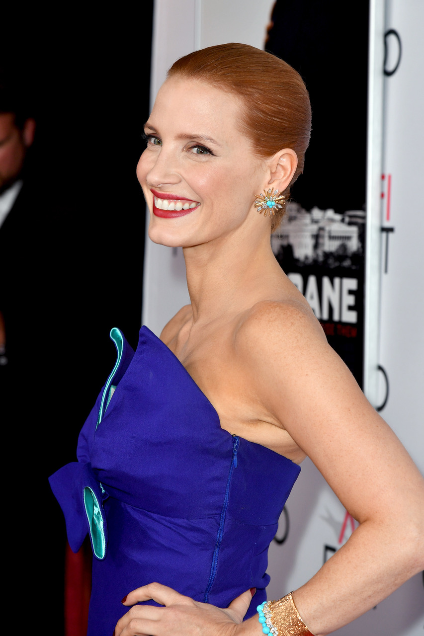 HOLLYWOOD, CA - NOVEMBER 11: Actress Jessica Chastain attends the premiere of EuropaCorp USA's 'Miss Sloane' at AFI Fest 2016, presented by Audi at TCL Chinese 6 Theatres on November 11, 2016 in Hollywood, California. (Photo by Earl Gibson III/Getty Images for AFI)