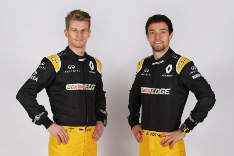 (L to R): Nico Hulkenberg (GER) Renault Sport F1 Team with team mate Jolyon Palmer (GBR) Renault Sport F1 Team. Renault Sport Formula One Team RS17 Launch, Royal Horticultural Society Headquarters, London, England. Tuesday 21st February 2017.