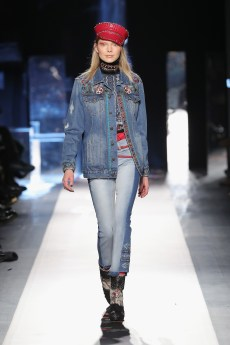DESIGUAL_NYFW_AW17_ATWALK_LOOK 14 NEW YORK, NY - FEBRUARY 09:A model walks the runway at the Desigual show New York Fashion Week The Shows at Gallery 1, Skylight Clarkson Sq on February 9, 2017 in New York City