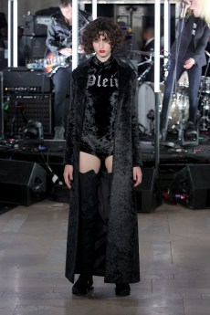 NEW YORK, NY - FEBRUARY 13: A model walks the runway wearing look #23 for the Philipp Plein Fall/Winter 2017/2018 Women's And Men's Fashion Show at The New York Public Library on February 13, 2017 in New York City. (Photo by Thomas Concordia/Getty Images for Philipp Plein)