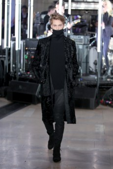 NEW YORK, NY - FEBRUARY 13: A model walks the runway wearing look # 3 for the Philipp Plein Fall/Winter 2017/2018 Women's And Men's Fashion Show at The New York Public Library on February 13, 2017 in New York City. (Photo by Thomas Concordia/Getty Images for Philipp Plein)