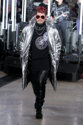 NEW YORK, NY - FEBRUARY 13: A model walks the runway wearing look # 33 for the Philipp Plein Fall/Winter 2017/2018 Women's And Men's Fashion Show at The New York Public Library on February 13, 2017 in New York City. (Photo by Thomas Concordia/Getty Images for Philipp Plein)