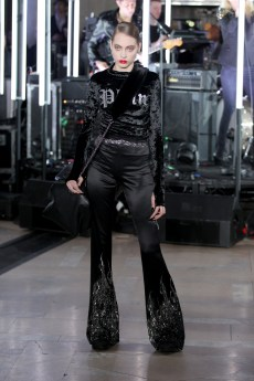 NEW YORK, NY - FEBRUARY 13: A model walks the runway wearing look #46 for the Philipp Plein Fall/Winter 2017/2018 Women's And Men's Fashion Show at The New York Public Library on February 13, 2017 in New York City. (Photo by Thomas Concordia/Getty Images for Philipp Plein)
