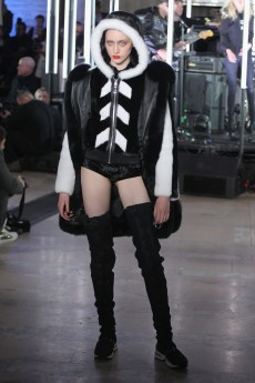 NEW YORK, NY - FEBRUARY 13: A model walks the runway wearing look #65 for the Philipp Plein Fall/Winter 2017/2018 Women's And Men's Fashion Show at The New York Public Library on February 13, 2017 in New York City. (Photo by Thomas Concordia/Getty Images for Philipp Plein)