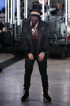 NEW YORK, NY - FEBRUARY 13: Artist Alec Monopoly walks the runway wearing look #74 for the Philipp Plein Fall/Winter 2017/2018 Women's And Men's Fashion Show at The New York Public Library on February 13, 2017 in New York City. (Photo by Thomas Concordia/Getty Images for Philipp Plein) *** Local Caption *** Alec Monopoly