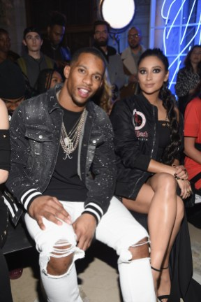 NEW YORK, NY - FEBRUARY 13: Victor Cruz and Shay Mitchell attend the Front Row for the Philipp Plein Fall/Winter 2017/2018 Women's And Men's Fashion Show at The New York Public Library on February 13, 2017 in New York City. (Photo by Dimitrios Kambouris/Getty Images for Philipp Plein)
