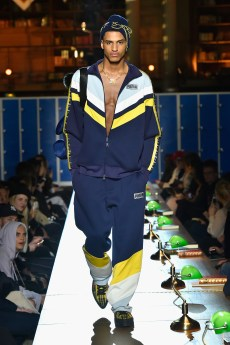 PARIS, FRANCE - MARCH 06: (LOOK 20) A model walks the runway during FENTY PUMA by Rihanna Fall / Winter 2017 Collection at Bibliotheque Nationale de France on March 6, 2017 in Paris, France. (Photo by Kristy Sparow/Getty Images for Fenty Puma)