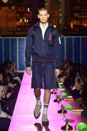 PARIS, FRANCE - MARCH 06: (LOOK 25) A model walks the runway during FENTY PUMA by Rihanna Fall / Winter 2017 Collection at Bibliotheque Nationale de France on March 6, 2017 in Paris, France. (Photo by Kristy Sparow/Getty Images for Fenty Puma)