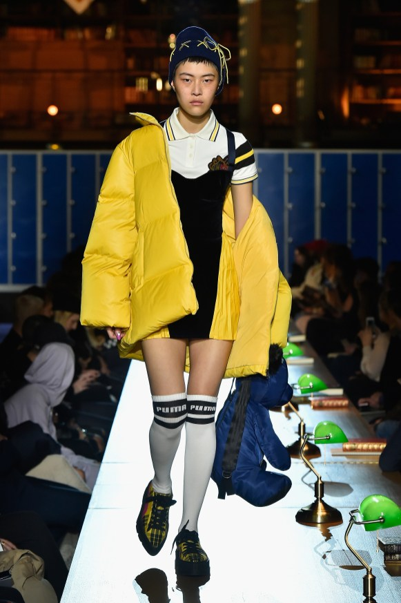 PARIS, FRANCE - MARCH 06: (LOOK 16) A model walks the runway during FENTY PUMA by Rihanna Fall / Winter 2017 Collection at Bibliotheque Nationale de France on March 6, 2017 in Paris, France. (Photo by Kristy Sparow/Getty Images for Fenty Puma)