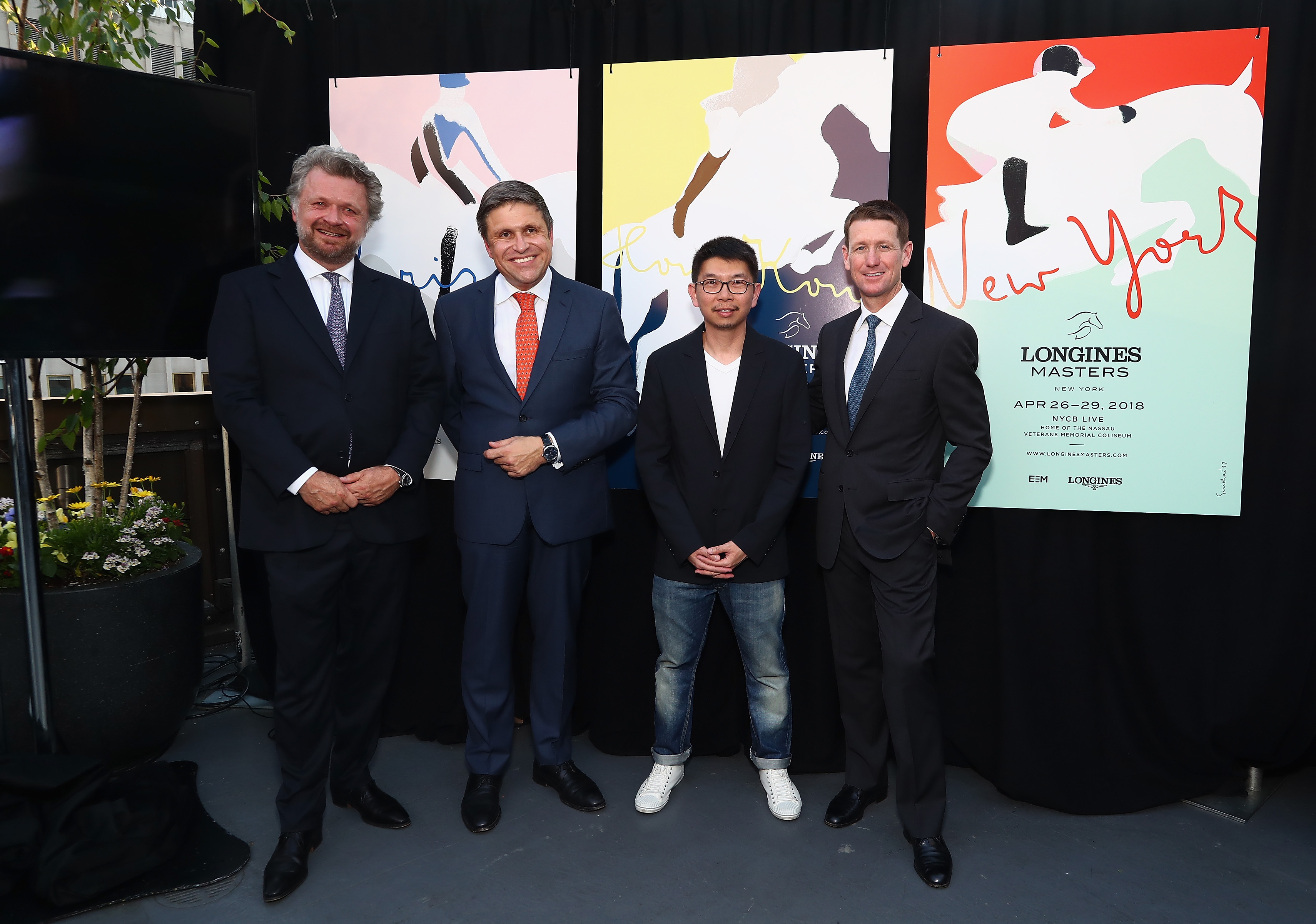 NEW YORK, NY - MAY 17: (L-R) Christophe Ameeuw, Founder and CEO of EEM, Juan-Carlos Capelli, Longines Vice President and Head of International Marketing, artist Sirichai and Mclain Ward attend the Longines Masters launch party celebrating Series' epic move to New York at Salon de Ning on May 17, 2017 in New York City. (Photo by Astrid Stawiarz/Getty Images for Longines)