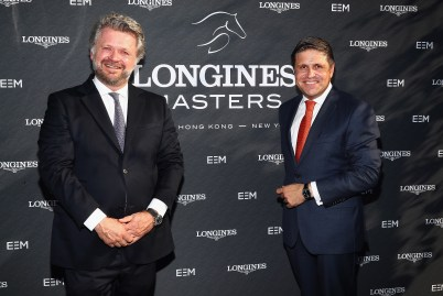 NEW YORK, NY - MAY 17: Christophe Ameeuw, Founder and CEO of EEM, and Juan-Carlos Capelli, Longines Vice President and Head of International Marketing attend the Longines Masters launch party celebrating Series' epic move to New York at Salon de Ning on May 17, 2017 in New York City. (Photo by Astrid Stawiarz/Getty Images for Longines)