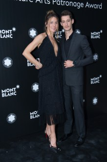 MADRID, SPAIN - MAY 04: Natasha Andrews and Pierre Niney attend Montblanc de la Culture Arts Patronage Award at the Madrid Palacio Liria on May 4, 2017 in Madrid, Spain. (Photo by Carlos Alvarez/Getty Images for Montblanc)
