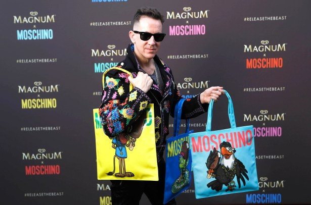 EDITORIAL USE ONLY Jeremy Scott, Moschino Creative Director, unveils the Magnum x Moschino bag capsule collection in celebration of Magnum Double ice cream in Cannes, France. PRESS ASSOCIATION Photo. Picture date: Thursday May 18, 2017. Photo credit should read: David Parry/PA Wire
