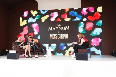 EDITORIAL USE ONLY Cara Delevingne and Jeremy Scott, Moschino Creative Director, during a press conference unveiling the Magnum x Moschino bag capsule collection in celebration of Magnum Double ice cream in Cannes, France. PRESS ASSOCIATION Photo. Picture date: Thursday May 18, 2017. Photo credit should read: David Parry/PA Wire