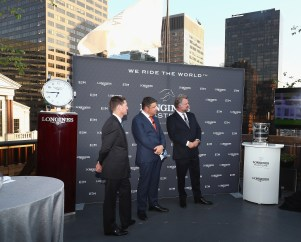 NEW YORK, NY - MAY 17: (L-R) Mclain Ward, Juan-Carlos Capelli, Longines Vice President and Head of International Marketing and Christophe Ameeuw, Founder and CEO of EEM attend the Longines Masters launch party celebrating Series' epic move to New York at Salon de Ning on May 17, 2017 in New York City. (Photo by Astrid Stawiarz/Getty Images for Longines)