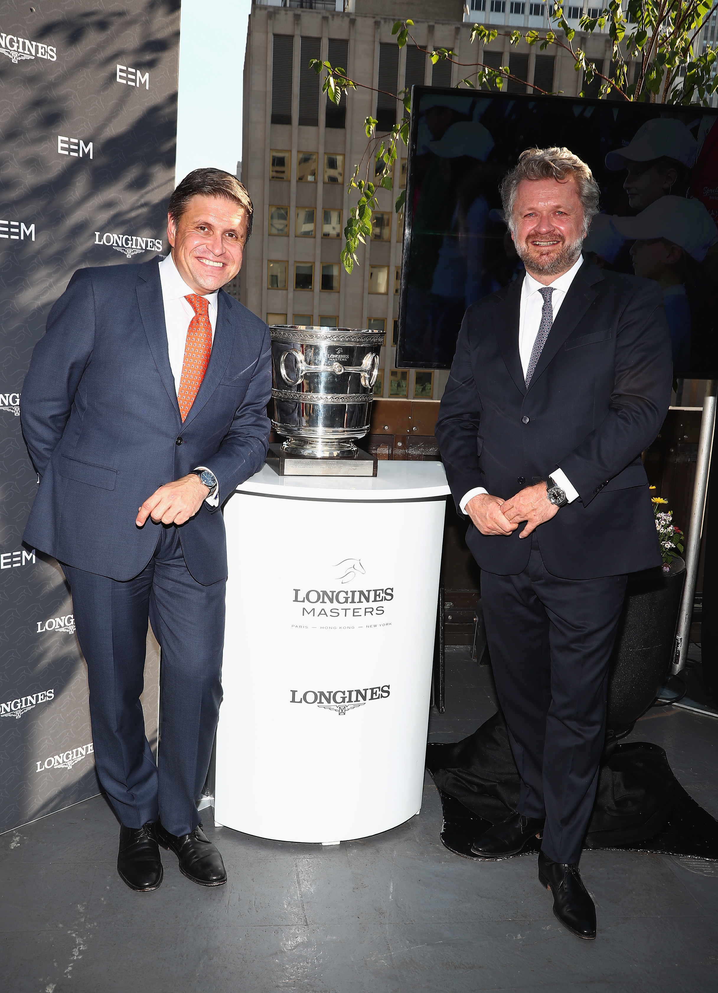 NEW YORK, NY - MAY 17: Juan-Carlos Capelli, Longines Vice President and Head of International Marketing and Christophe Ameeuw, Founder and CEO of EEM attend the Longines Masters launch party celebrating Series' epic move to New York at Salon de Ning on May 17, 2017 in New York City. (Photo by Astrid Stawiarz/Getty Images for Longines)